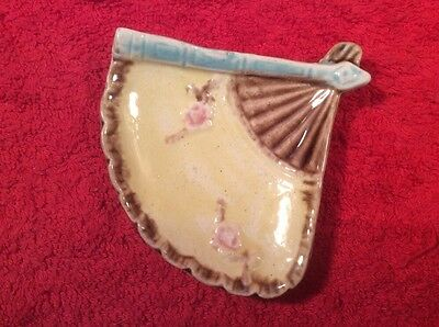 Beautiful Antique Majolica Yellow Fan Butter Pat c.1800's, fm1095