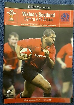 Wales v Scotland 2003 Rugby World Cup Warm Up Programme