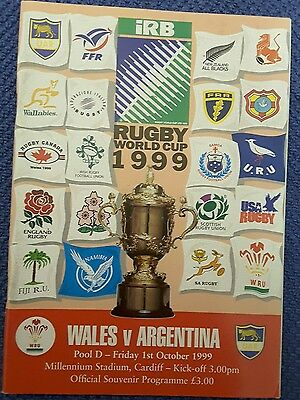 Wales V Argentina Rugby World Cup 1999 Programe