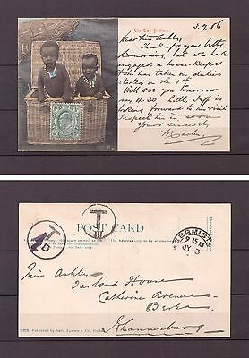 British Empire - 1906 Transvaal Postal History - Postcard with postage due