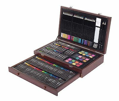 143pcs Deluxe Art Creativity Set Painting Coloring Drawing Sketching Wooden Case
