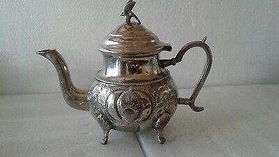 Vintage Moroccan Silver Plate Hand Engraved Teapot with Bird top