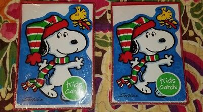 lot of 2 snoopy woodstock peanuts christmas cards charles schulz hallmark 30