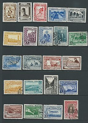 PERU 1936 VALUES NO 10S POSTAGE BUT INCLUDING RARE 10s AIR MH USED INTERESTING!