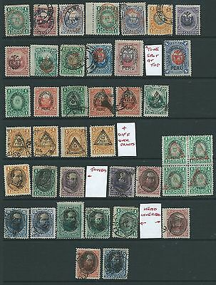 PERU GOOD LOT 1880s-90s OVERPRINTS MH USED INCLUDING OPT INVERTED