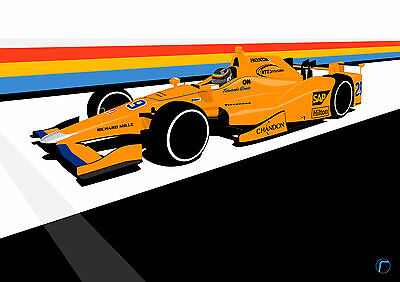 Alonso Indy 500 (A3) Print by RacingLineDesigns - IndyCar