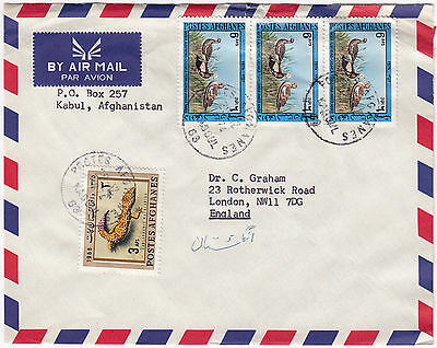 X7067 Afghanistan cover to UK. Kaboul 1974. 21 afs rate - 4 stamps.