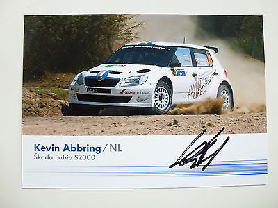 Kevin Abbring Signed Skoda Fabia S2000 Volkswagen Wrc Official Photocard