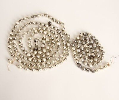 Two Strands~ Vintage Old Mercury Glass Christmas Tree Garland SILVER Antique