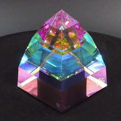 Swarovski Crystal Pyramid VITRAIL Medium Paperweight with Rainbow Prism