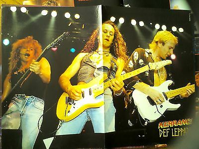 Def Leppard 3 Guitarists Double Page Poster from Kerrang Magazine