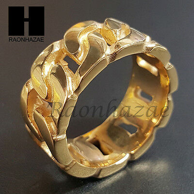 Mens 316L Stainless Steel 14K Gold Tone Solid Miami Cuban Ring 8-12 Sb004G