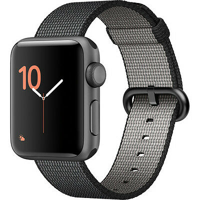Apple Watch Series 2 38mm (Space Gray Aluminum Case, Black Woven Nylon Band)