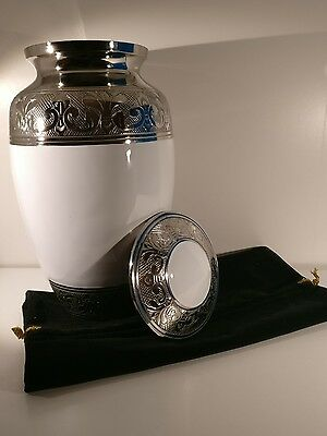 Urns for Ashes,Adult Cremation Funeral Memorial Urn Large BAROQUE/CLASSIC WHITE
