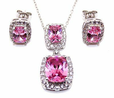 Sterling Silver Pink Sapphire And Diamond 11.75ct Necklace Set (925)