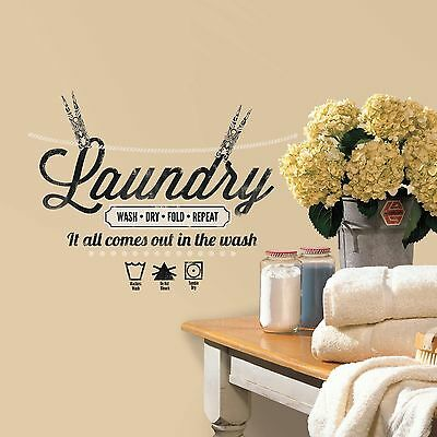 Laundry Clothes Quote Peel-n-Stick Wall Decals Art Sayings Removable Stickers