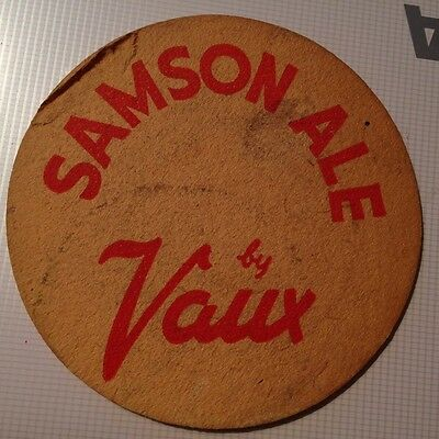 Very OLD Samson Ale by Vaux Beer Mat / Coaster *Vintage/Antique*