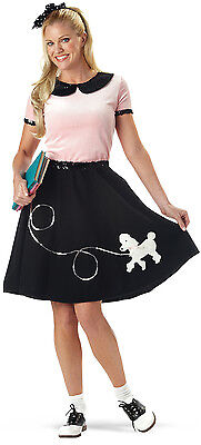 Poodle Skirt Outfit Ladies 3 Pc Pink & Black 50's Style Skirt Top And Scarf Sm