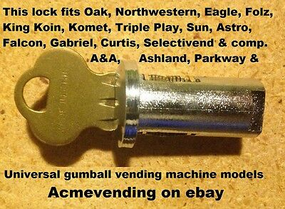 LOCK & KEY for MOST Bulk GUMBALL CANDY NUT VENDING MACHINE Gum Oak Northwestern