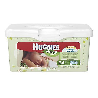 Huggies Natural Care Unscented Baby Wipes Tub - 64ct  2-pack