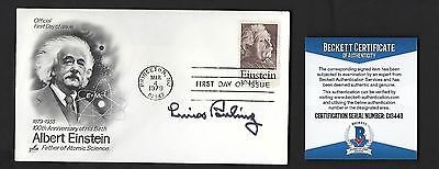 Linus Pauling signed cover BAS Authenticated Nobel Prize Peace & Chemistry