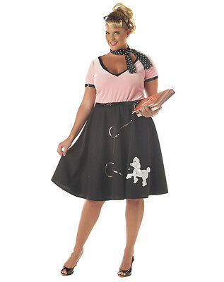 Poodle Skirt Outfit Ladies 3 Pc Pink & Black 50's Style Skirt Top & Scarf Plus