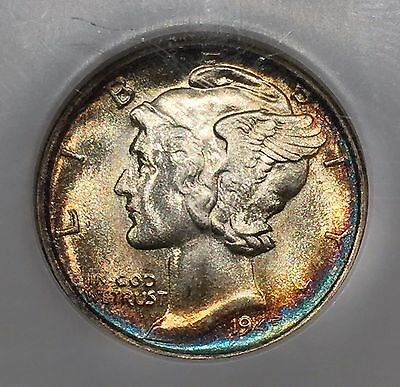 1945-S Mercury Dime NGC MS-65 Electric Blue Toning