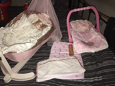 Baby Annabell Dolls Cot Baby Carrier And Changing Mat With Blankets