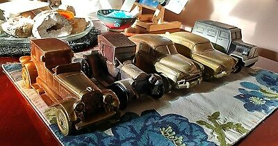 Vintage Banthrico 1974 Metal Coin Banks - LOT OF 5 CARS Chicago ~ One Key