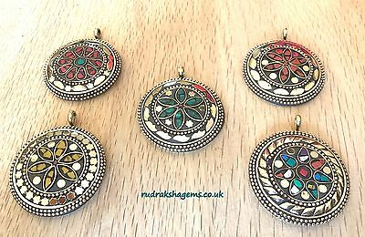 Tibetan High Quality Brass Multi Gem Stone Pendants Boho Women Bohemian Vintage