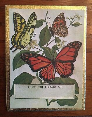 Box of 39 vintage Antioch BOOKPLATES with colorful Monarch BUTTERFLY