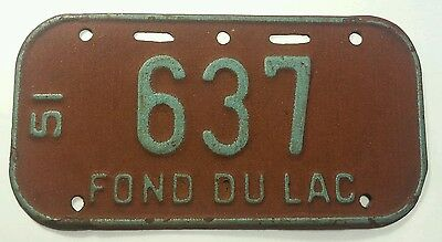 Vintage Antique License Plate Rare Collector Fond Du Lac Three Digit