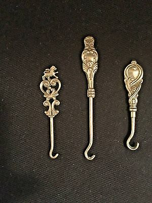 Antique Victorian Sterling Silver Button Hooks - SET of 3