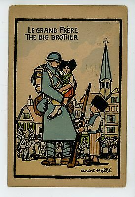 "André Hellé CPA ""Big Brother"" Antique WWI Soldier w Kids—Artist-Signed 1910s"