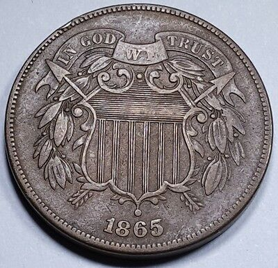1865 XF US Two Cent Piece 2 Penny Antique Currency Old Civil War Era U.S. Money