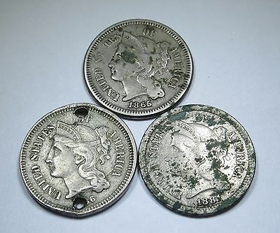 Lot of 3 U.S. Three Cent Nickel Piece Antique 3 Penny Antique US Currency Money
