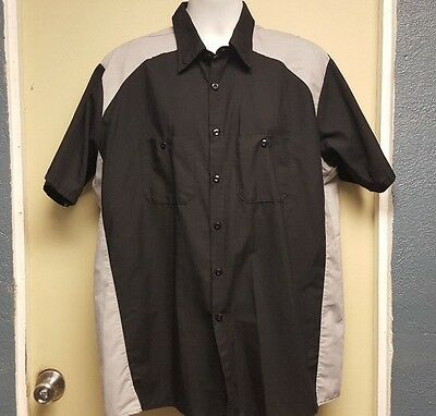 Red Kap Uniform Mechanic Work Button Down Short Sleeve Shirt Black/Light Gray