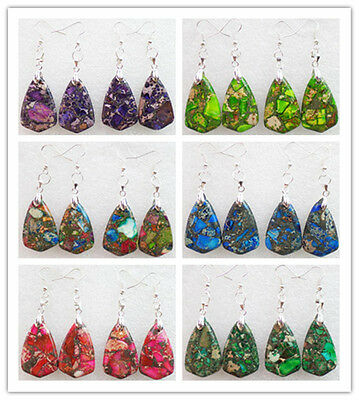 One Pair Sea Sediment Jasper & Pyrite Triangle Dangle Earrings Choose Color L004