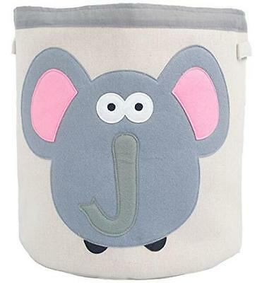 Grey Bee Animal Theme Collapsible Canvas Storage Bin for Kids, Elephant