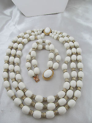 Vintage WHITE CELLULOID? & GOLD TRIPLE STRAND NECKLACE with BRACELET SET, Unique