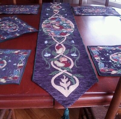 ENTIRE SET!  HEAVY WOVEN 2 xl TBL RUNNERS 8 PLACEMATS ORIGINALLY $225! THKSGVG!