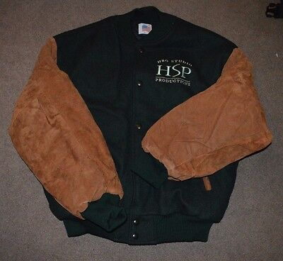 Vtg HBO Studio HSP Productions Crew Cast Jacket Large Suede Sleeves Promo