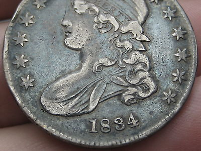 1834 Capped Bust Half Dollar- Small Date, Letters- VF/Very Fine Details
