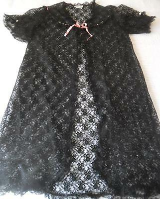 Vintage 1960's Night Rose Black Nylon Lace Pin Up Baby Doll Negligee 16 95 Cms