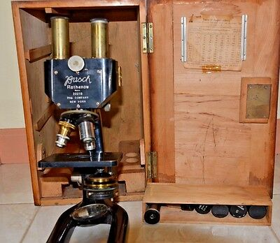 Rare Antique  German Busch Rathenow New York Brass Microscope Serial 22210~ 1896