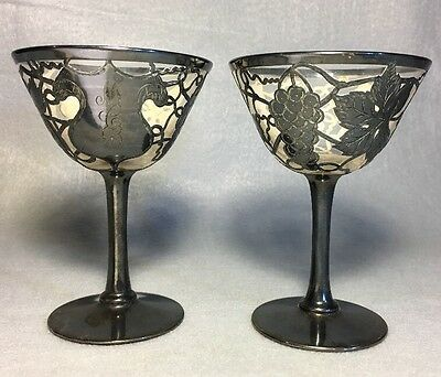 Glass With sterling silver overlay Wine Glasses Monogram Unusual Antique 8J