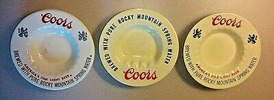 3 VTG CERAMIC COORS ASH TRAYS-3 different styles-1970's