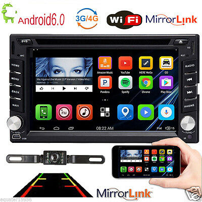 4-Core Android 6.0 2Din Car CD DVD Player Stereo GPS Navigation BT Radio+Camera