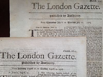London Gazette 1703 & 1727 Rare Vintage Historic Newspapers / 5 Pages /2 Issues