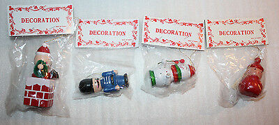 """Lot Of 4 Vintage Wooden """"Decoration"""" Holiday Christmas Ornaments Made In Taiwan"""